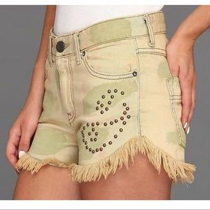 Free People Castro Wash Studded Frayed Jean Shorts